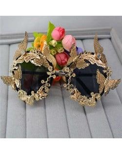 Golden Butterflies Embellished High Fashion Women Party Sunglasses
