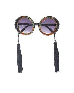 Cotton Threads Tassel U.S. High Fashion Women Costume Sunglasses - Multicolor