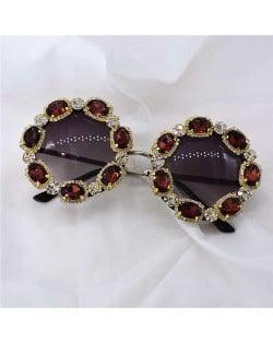 Shining Rhinestone Embellished Round Fashion Women Costume Sunglasses - Brown