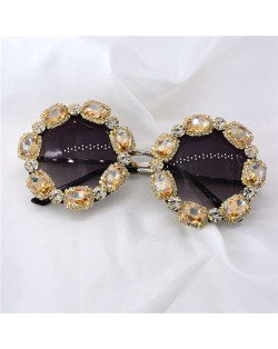 Shining Rhinestone Embellished Round Fashion Women Costume Sunglasses - Champagne