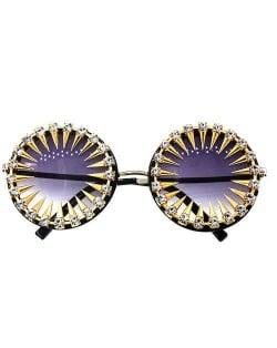 Golden Rivets Decorated Shining Rhinestone Party Fashion Women Costume Sunglasses