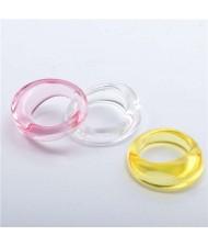 (3 pcs) U.S. High Fashion Index Finger Resin Rings Set - Pink White and Yellow