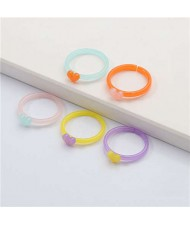 (5 pcs) High Fashion Heart Decorated Resin Rings Set