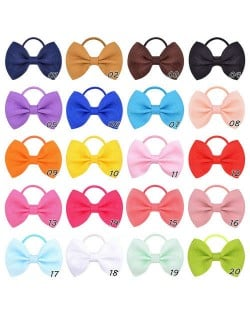 (20 pcs) Solid Color Rubber Band Bow Baby/ Toddler Hair Band Set