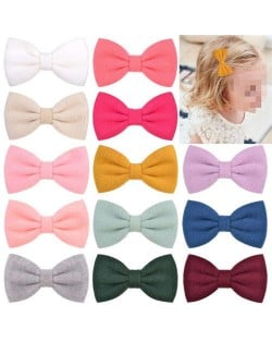 (16 pcs) Adorable Bowknot Baby Girl Cloth Hair Clip Set