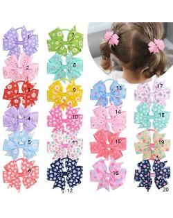 (20 pcs) Tiny Flowers Prints Bowknot Cute Kids/ Baby Girl Hair Band Set