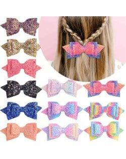 (12 pcs) Gradient Color Sequins Adorable Bowknot Baby Girl/ Kids Hair Clip Set/ Hair Accessories