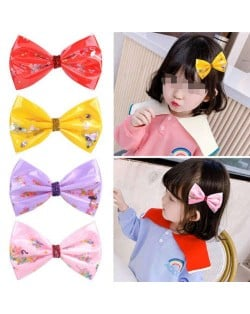 (4pcs) Fashion Elements Decorated 4.7 Inches Baby Girl Bowknot Hair Clip Set