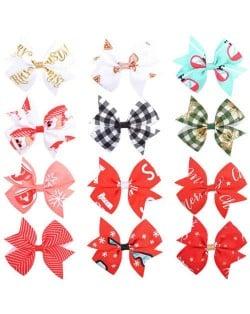 (12 pcs) High Fashion Holiday Style Baby Girl/ Kids Hair Clip Set