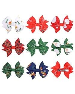 (8 pcs) Christmas Season Bowknot Baby Girl/ Kids Hair Clip Set