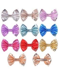 (10 pcs) Shining Bowknot Baby Girl Cloth Hair Clip Set/ Hair Accessories