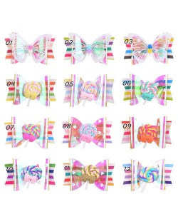 (12 pcs) Lollipop Bowknot and Butterfly Design Baby Girl Fashion Hair Clip Set
