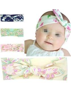 (4 pcs) Floral Prints Baby Bowknot Hair Band Set