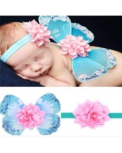Flower Decorated Angel Wings Design Blue Baby Hair Band Set