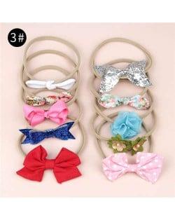 (10pcs) U.S. High Fashion Flowers and Bowknots Combo Hair Rubber Band Set - NO.3