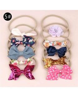 (10pcs) U.S. High Fashion Flowers and Bowknots Combo Hair Rubber Band Set - NO.5
