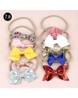 (10pcs) U.S. High Fashion Flowers and Bowknots Combo Hair Rubber Band Set - NO.7