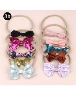 (10pcs) U.S. High Fashion Flowers and Bowknots Combo Hair Rubber Band Set - NO.8