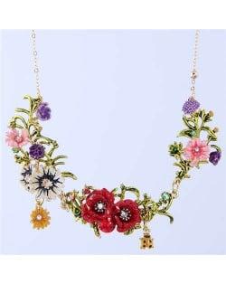 Ladybug and Flowers Vintage Fashion Western Fashion Women Statement Necklace - White