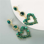 Glass Gems Embellished Heart Design Super Shining Fashion Women Earrings - Green