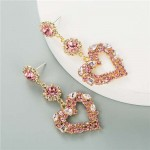 Glass Gems Embellished Heart Design Super Shining Fashion Women Earrings - Pink