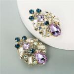 Purple Hollow Waterdrop Super Shining Women Alloy Costume Earrings