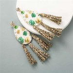 Leaves Waterdrop with Snake Skin Tassel Leather Texture High Fashion Women Statement Earrings