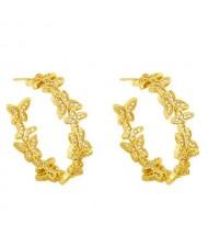 Cubic Zirconia Embellished Butterflies Golden Women Earrings