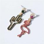 High Fashion Rhinestone Crane and Cactus Asymmetric Design Women Alloy Earrings