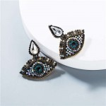 Rhinestone Charming Eyes Design Vintage Fashion Women Costume Earrings - White