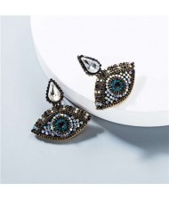 Rhinestone Charming Eyes Design Vintage Fashion Women Costume Earrings - White