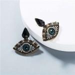 Rhinestone Charming Eyes Design Vintage Fashion Women Costume Earrings - Black