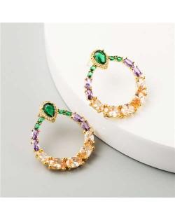 Graceful Green and Purple Fashion Women Hoop Earrings