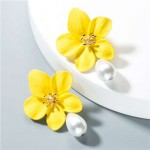 Artificial Pearl Bead Tassel Alloy Women Stud Earrings - Yellow