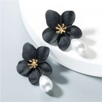 Artificial Pearl Bead Tassel Alloy Women Stud Earrings - Black