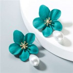 Artificial Pearl Bead Tassel Alloy Women Stud Earrings - Green