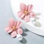 Artificial Pearl Bead Tassel Alloy Women Stud Earrings - Pink