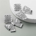 Rhinestone Bowknot Design Unique Fashion Women Alloy Costume Earrings - Silver