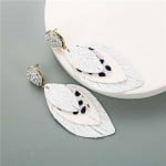 Multi-layer Leaves Bohemian Fashion Women Leather Texture Stud Earrings - White