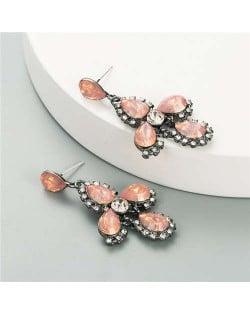 Rhinestone Embellished Cross Design Vintage Fashion Women Earrings