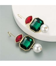 Pearl and Glass Gem Combo Design Hot Sales Women Western Fashion Stud Earrings - Green