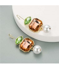 Pearl and Glass Gem Combo Design Hot Sales Women Western Fashion Stud Earrings - Champagne