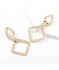 Rhinestone Embellished Rhombus Shape Korean High Fashion Women Wholesale Earrings - Golden