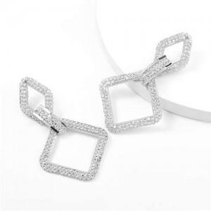 Rhinestone Embellished Rhombus Shape Korean High Fashion Women Wholesale Earrings - Silver