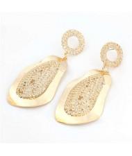 Shining Rhinestone Embellished Golden Papaya Fashion Women Boutique Style Earrings