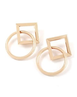 Rhombus and Ring Combo Design High Fashion Women Wholesale Costume Earrings - Golden