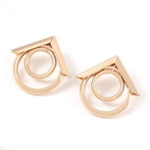 Arrow and Rings Geometric Combo Alloy Wholesale Earrings - Golden