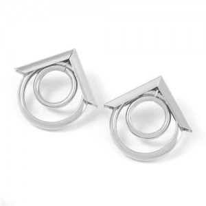 Arrow and Rings Geometric Combo Alloy Wholesale Earrings - Silver