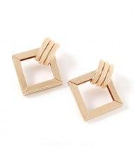 Elegant Hollow Square Design Women Alloy Wholesale Fashion Earrings - Golden