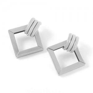 Elegant Hollow Square Design Women Alloy Wholesale Fashion Earrings - Silver